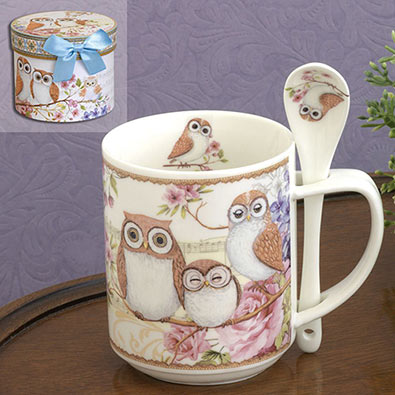 Ceramic Owls Mug & Spoon Set