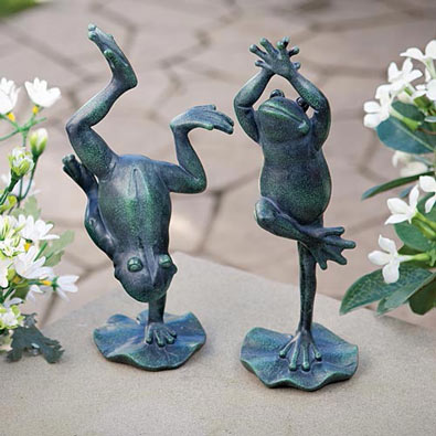 Set of 2 : Dancing Frog Duet Garden Sculptures