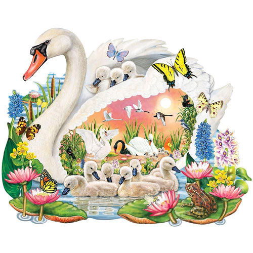 Mother Swan 750 Piece Shaped Jigsaw Puzzle