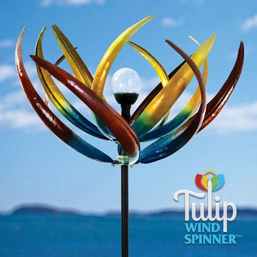 Solar Multicolour Tulip Wind Spinner